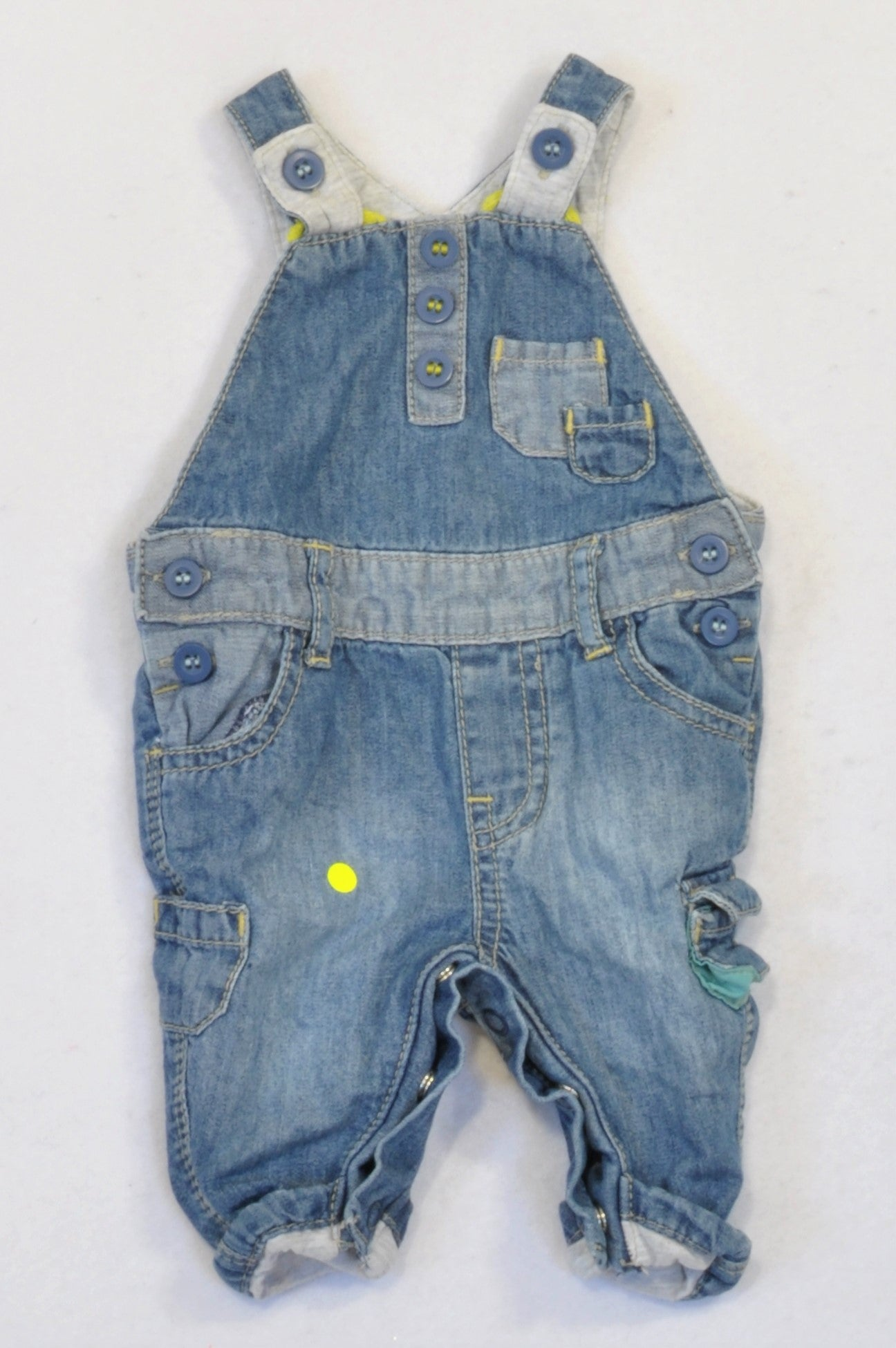 Mothercare Lime Stitch Snap Denim Dungarees Boys Tiny Baby