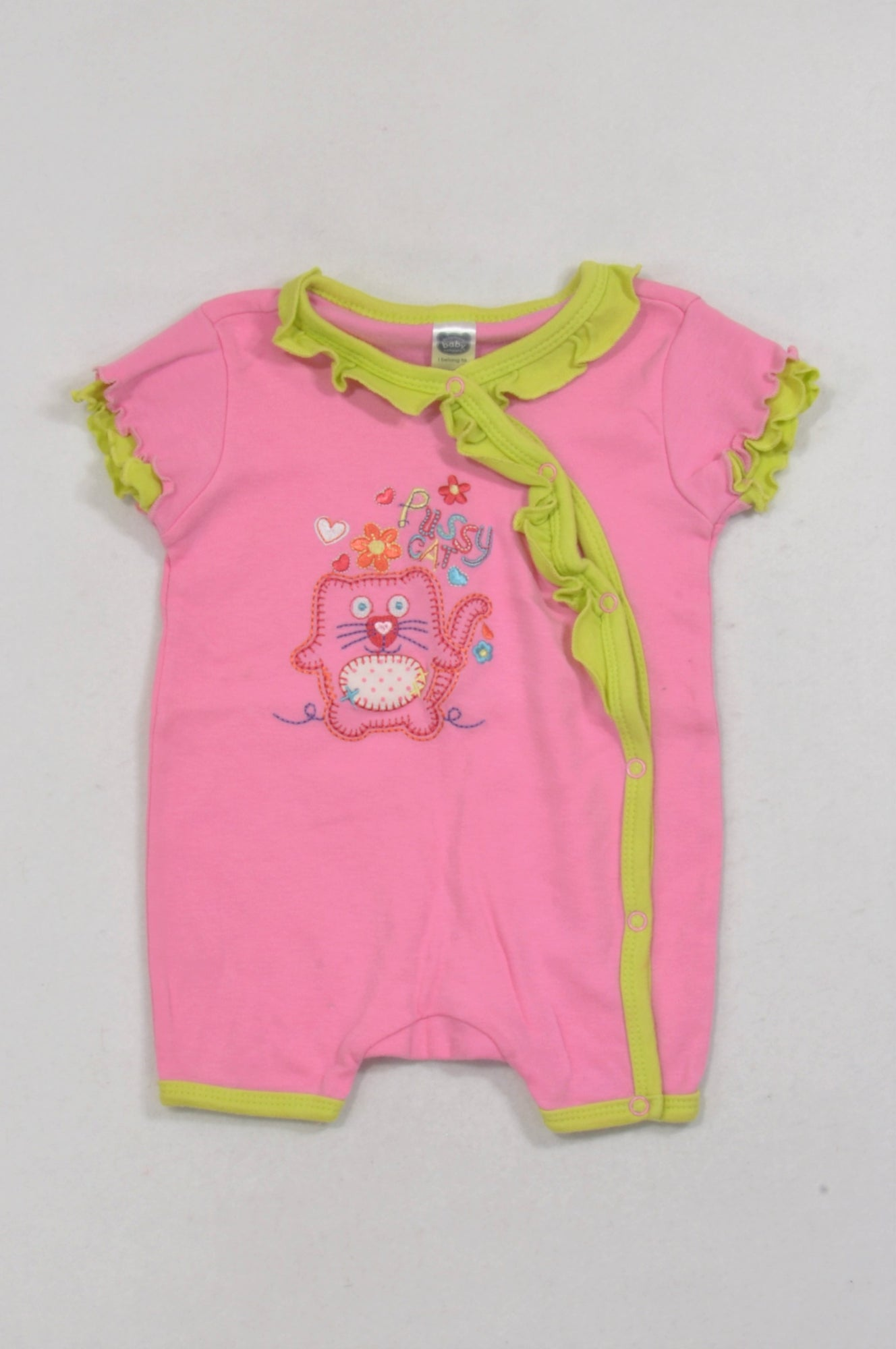 Ackermans Pink & Green Trim Cat Romper Girls 3-6 months