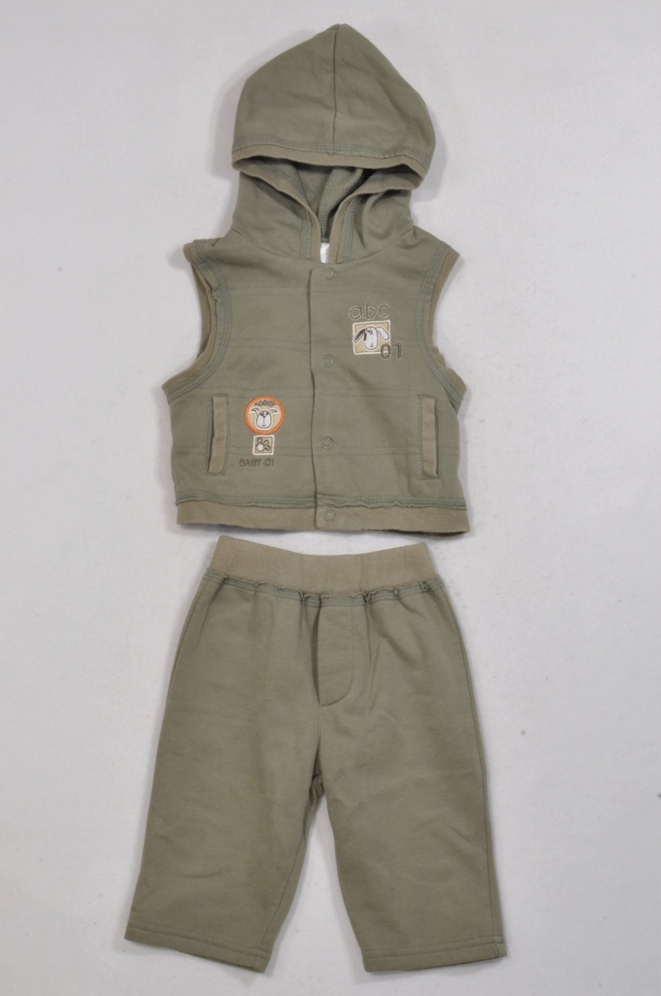 Ackermans Olive ABC Outfit Boys 3-6 months