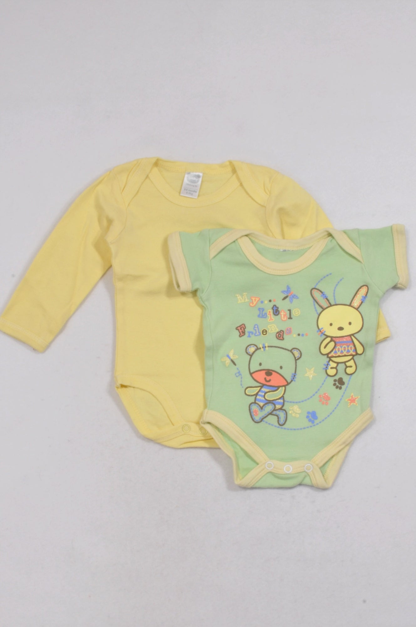 Ackermans 2 Pack Yellow & Green Bunny Baby Grows Unisex 3-6 months