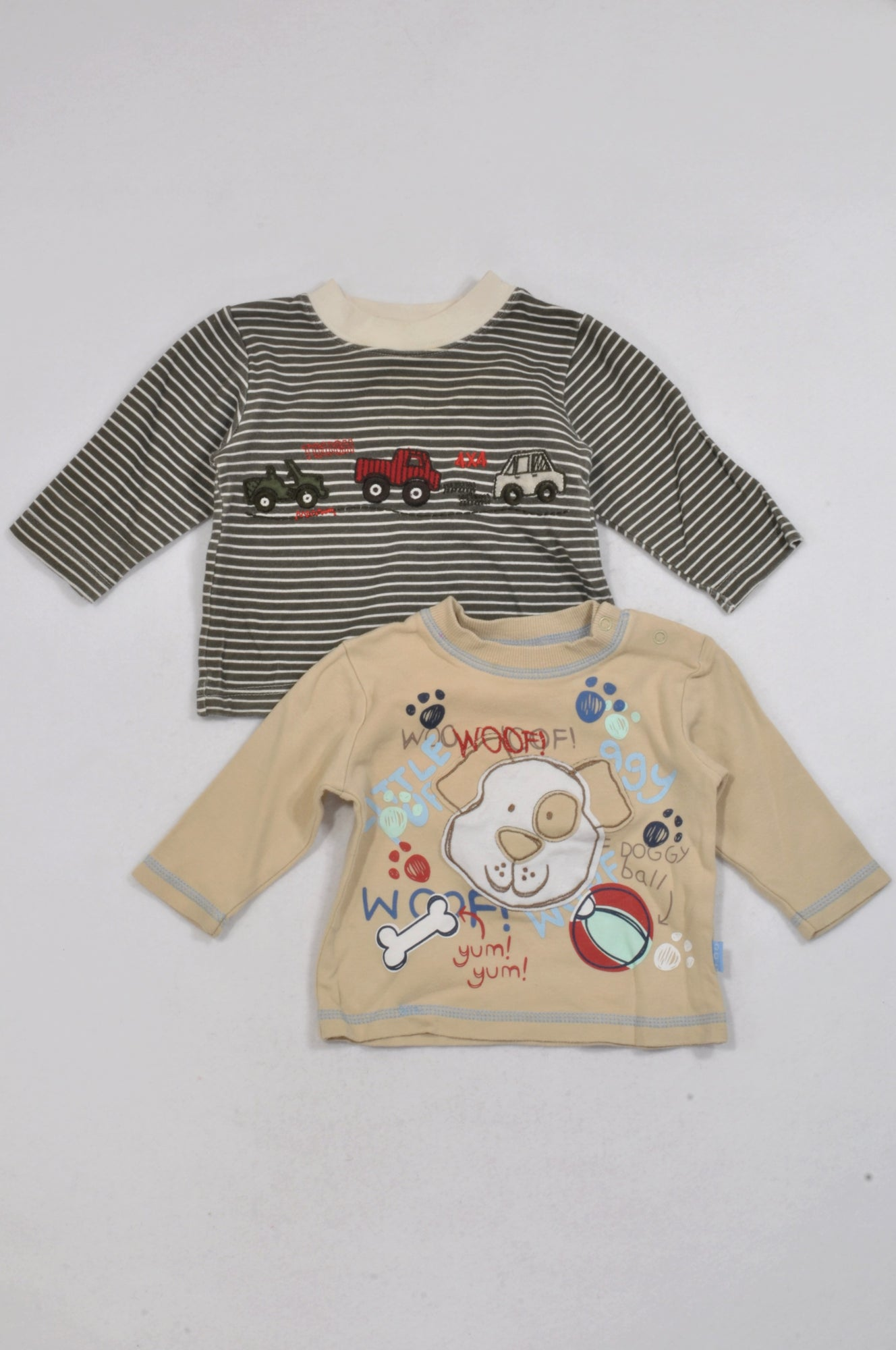 Ackermans 2 Pack Brown & Olive Woof! T-Shirts Boys 3-6 months