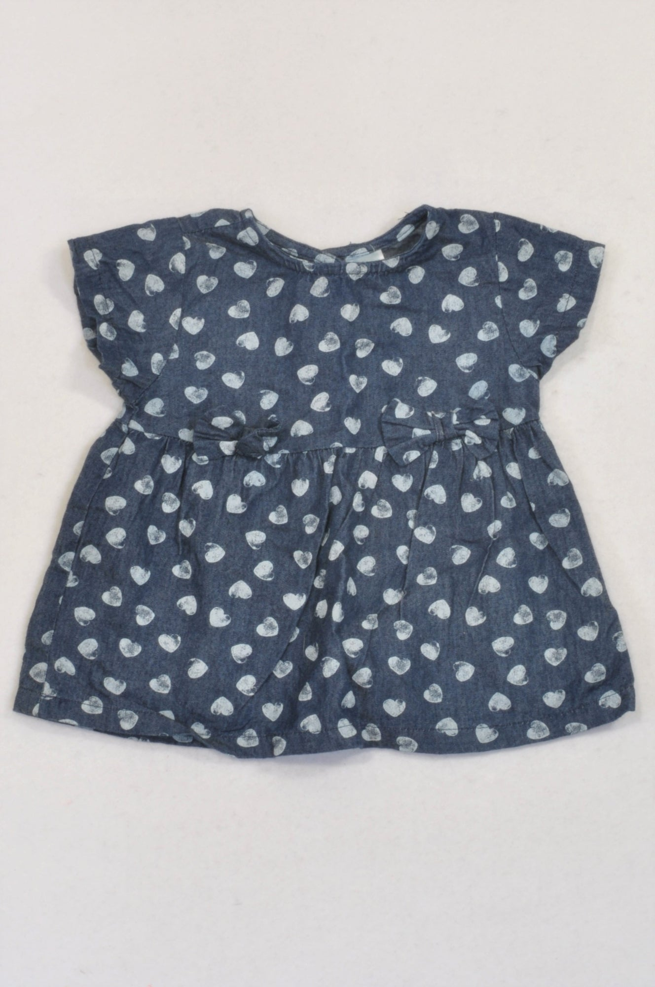 483c9a0209ea Ackermans Denim Heart Bow Dress Girls 3-6 months – Once More