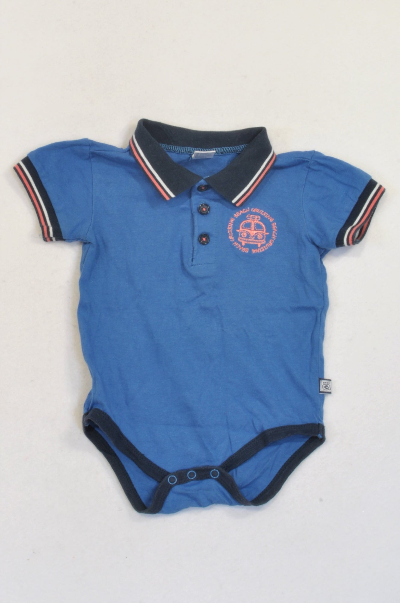 Ackermans Blue Collared Navy Trim Baby Grow Boys 6-12 months