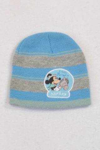 Disney Blue & Grey Mickey Mouse Beanie Boys 3-6 months