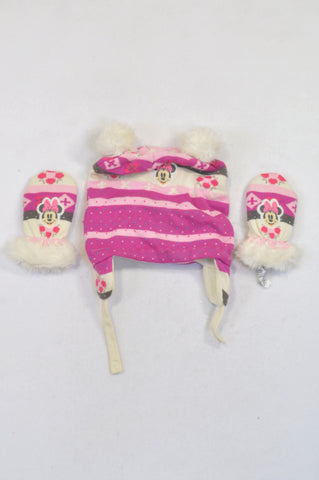 Disney 1 of 2 Pink Minnie Mouse Beanie & Mittens Girls 12-18 months