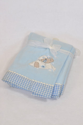 New Blue Checkered Trim Bear Blanket Boys N-B to 1 year