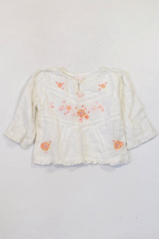 Monsoon White Pin Dot Embroidered Flower Blouse Girls 12-18 months