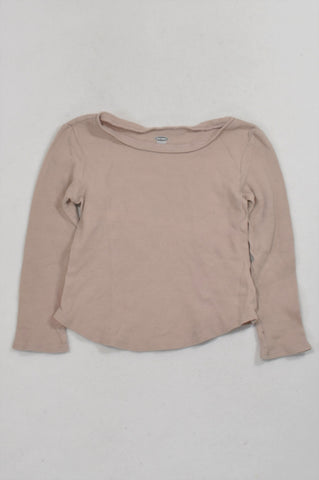 Old Navy Dusty Pink Textured Long Sleeved T-shirt Girls 3-4 years
