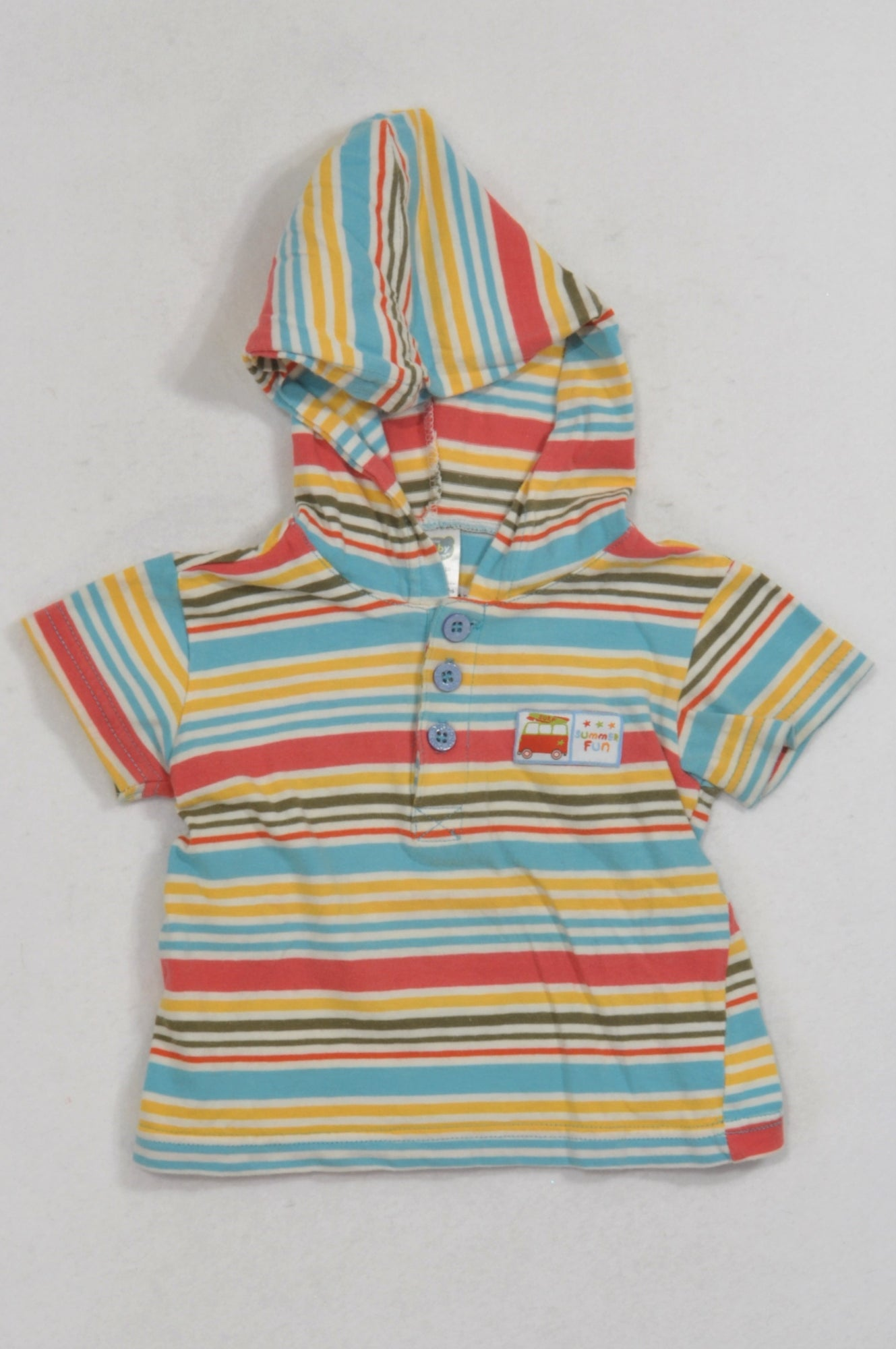 Ackermans Multicolored Striped Hooded T-shirt Girls 2-3 years