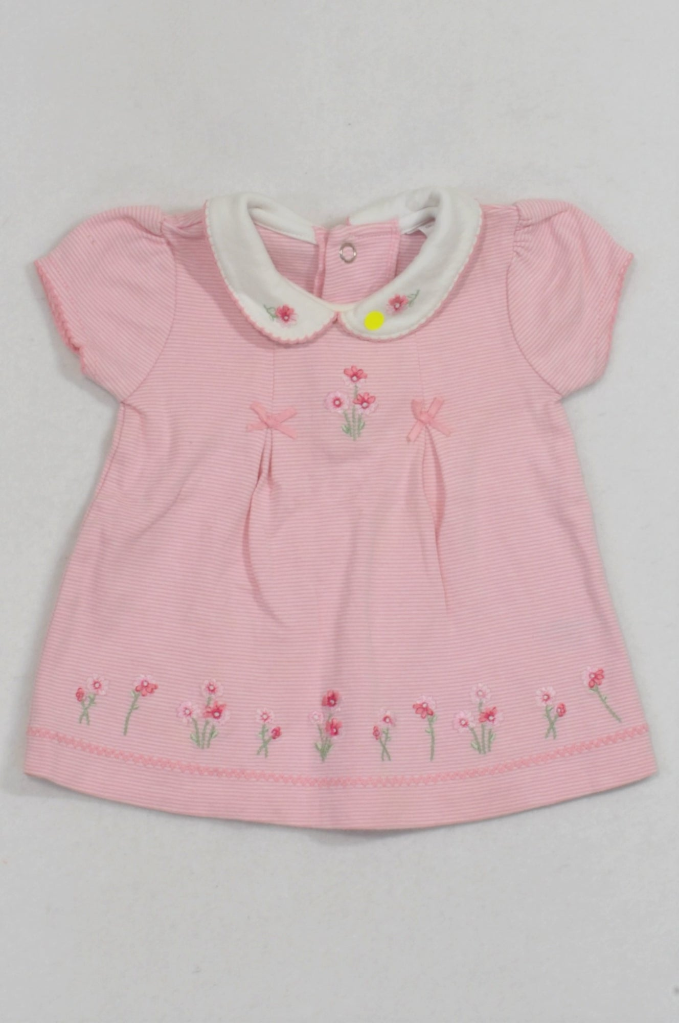Carter's Pink Thin Stripe Floral Embroidered Dress Girls 0-3 months