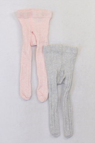 Next 2 Pack Grey & Pink Textured Stockings Girls 6-12 months