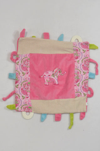 Smudge Pink Fleece Elephant Teething Soother Girls N-B to 1 year