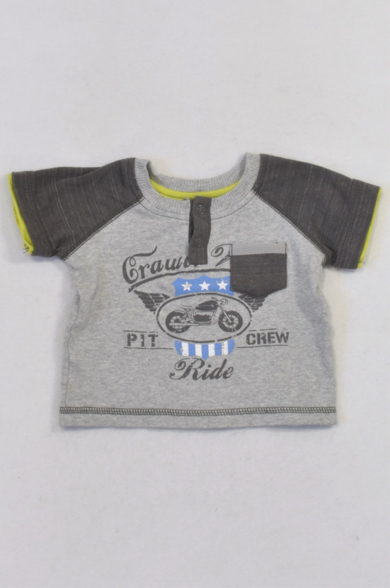 Woolworths Grey Pit Crew Pocketed Henley T-shirt Boys 3-6 months