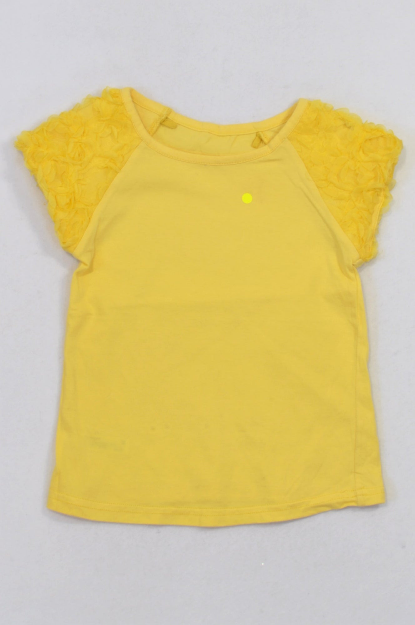 Woolworths Bright Yellow Flower Tulle Sleeve T Shirt Girls 5 6 Years