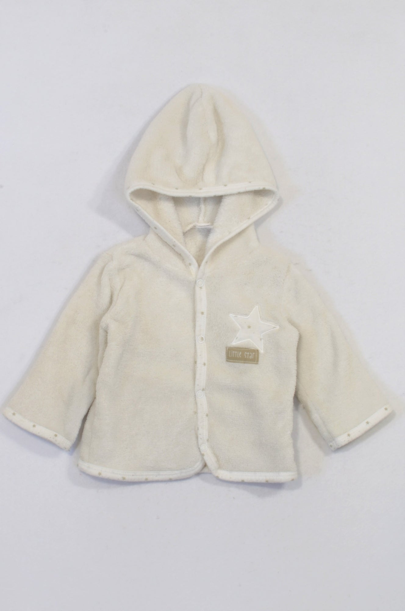 Ackermans Ivory Little Star Coral Fleece Jacket Unisex 3-6 months