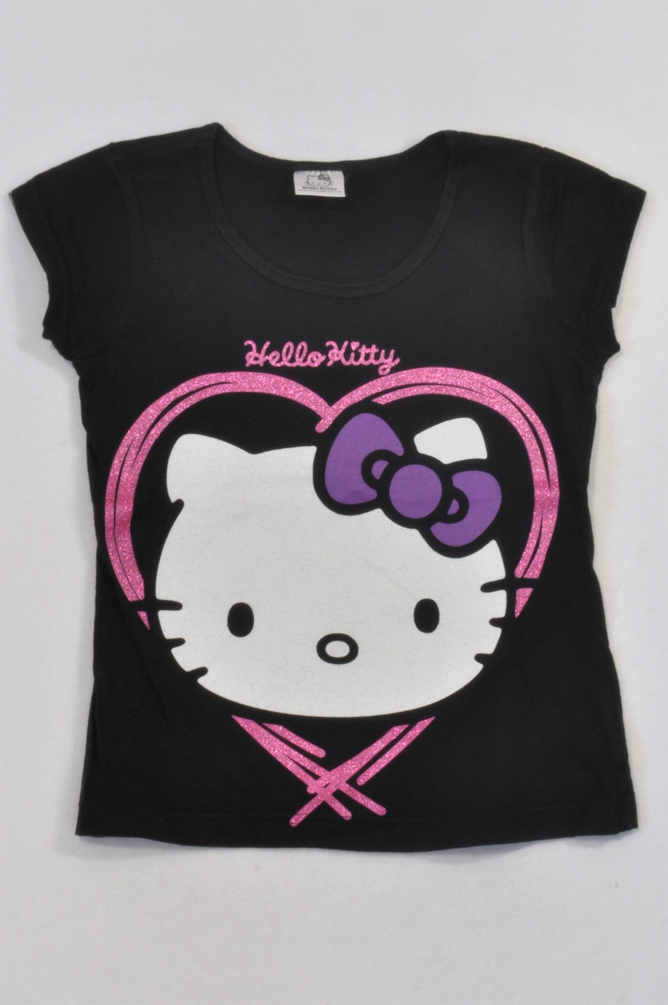 422276740 Hello Kitty Black Purple Bow T-shirt Girls 7-8 years – Once More