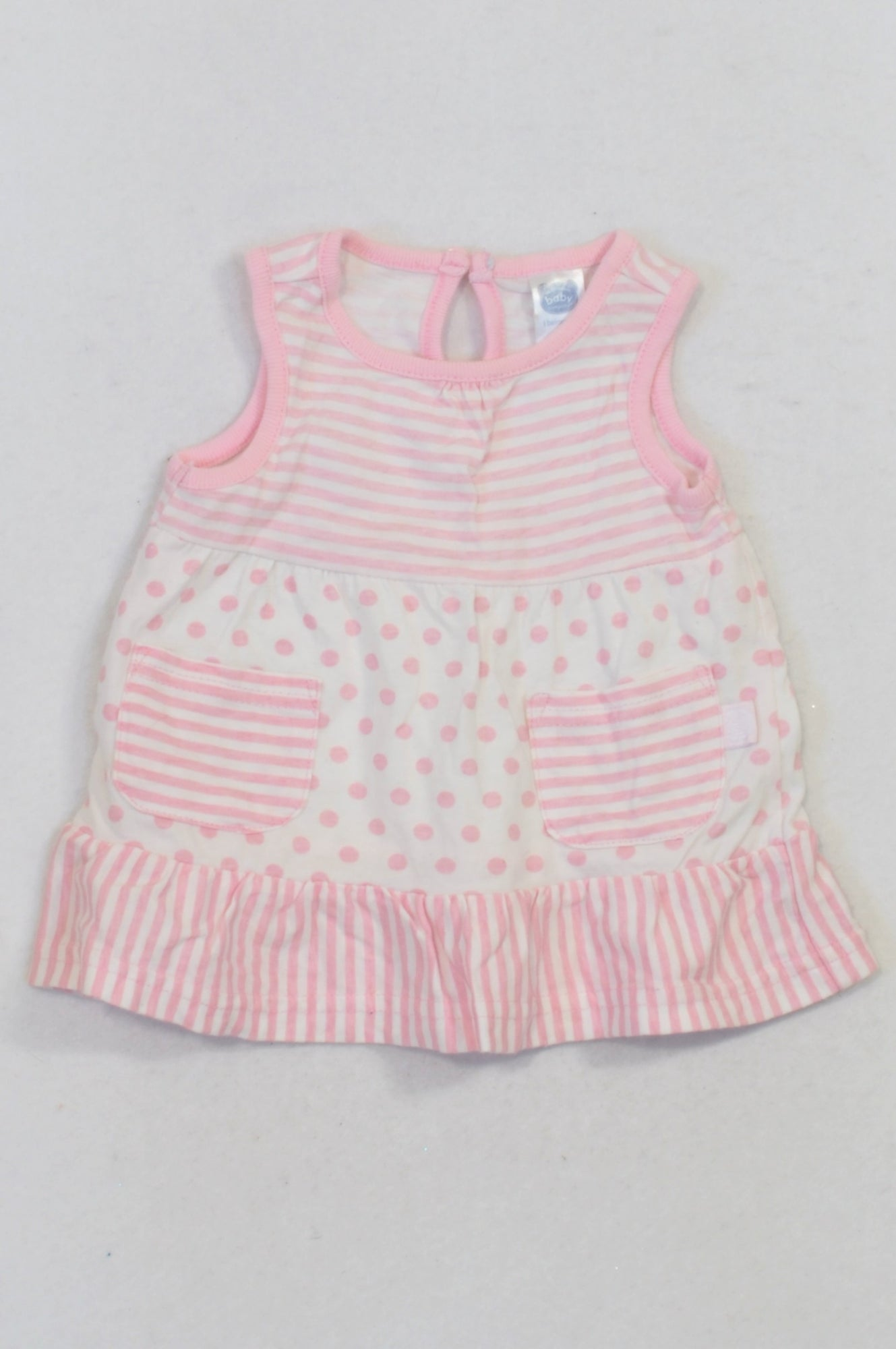 Ackermans Pink & White Striped & Dotty Dress Girls 0-3 months