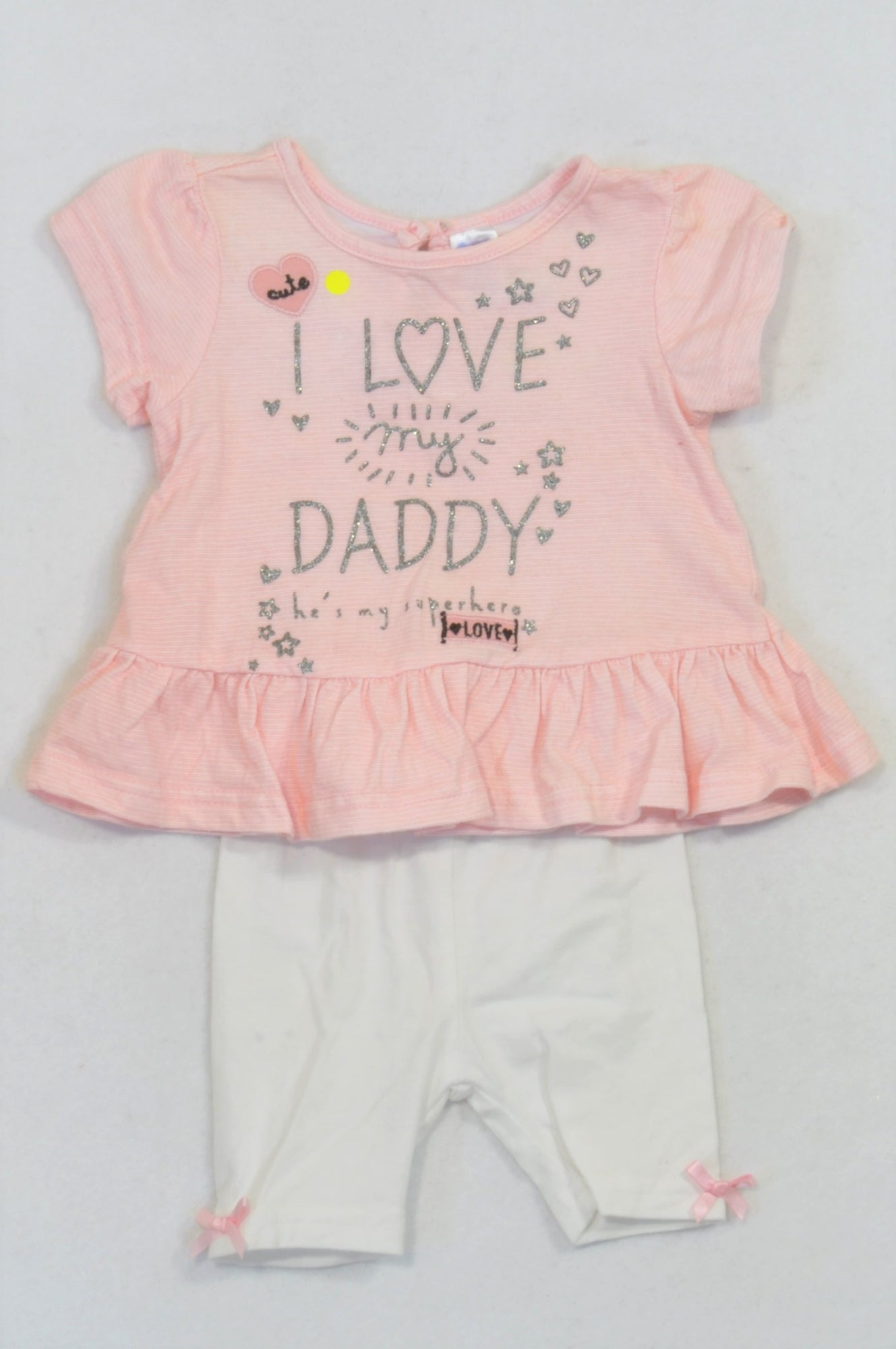 Ackermans Pink & White Peplum Love Daddy Top & White Leggings Outfit Girls 0-3 months