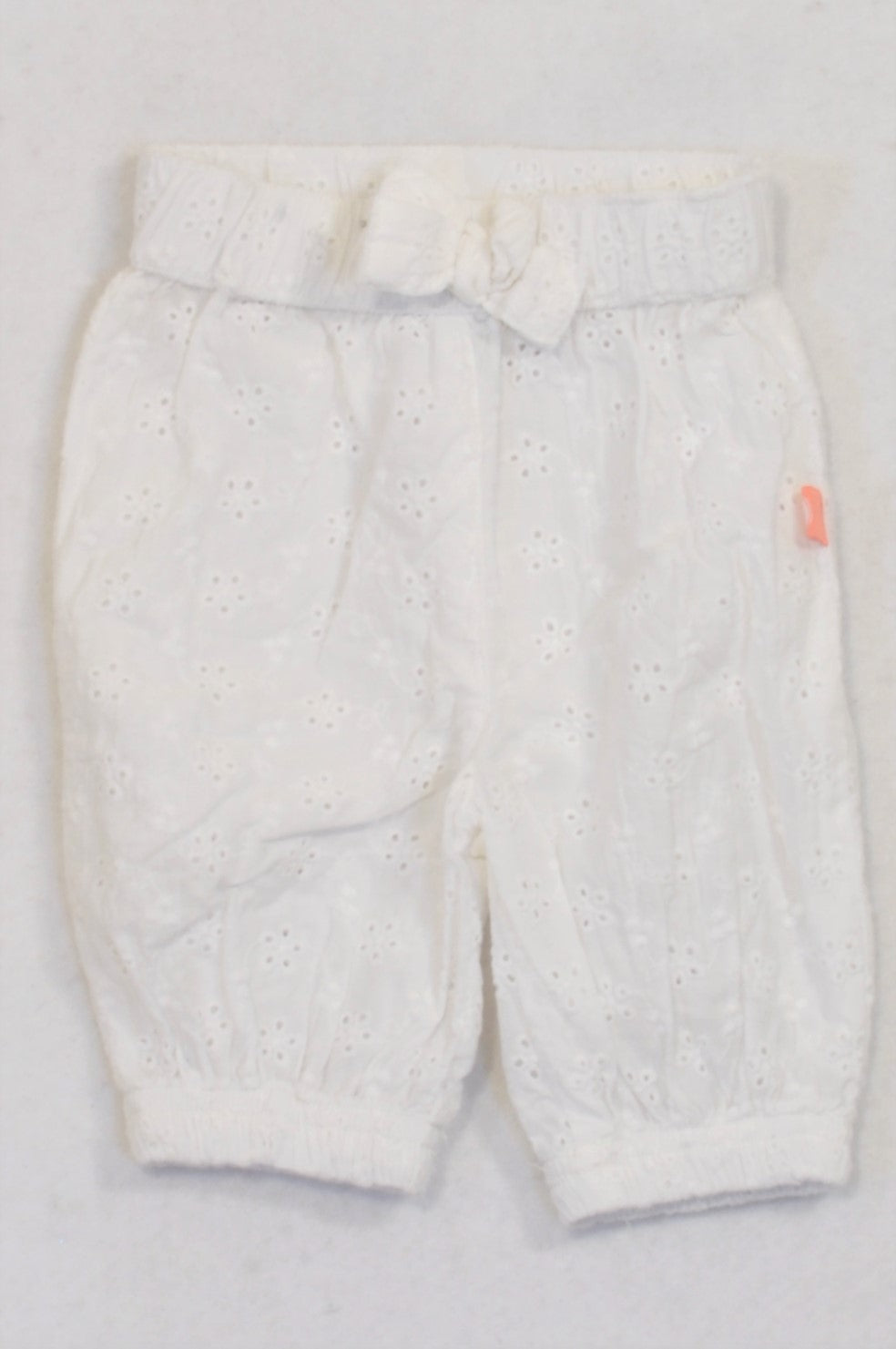 Ackermans Cuffed White Eyelet Pants Girls 0-3 months