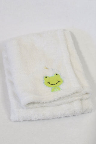 Pick n Pay White Coral Fleece Frog Applique Blanket Unisex N-B to 2 years