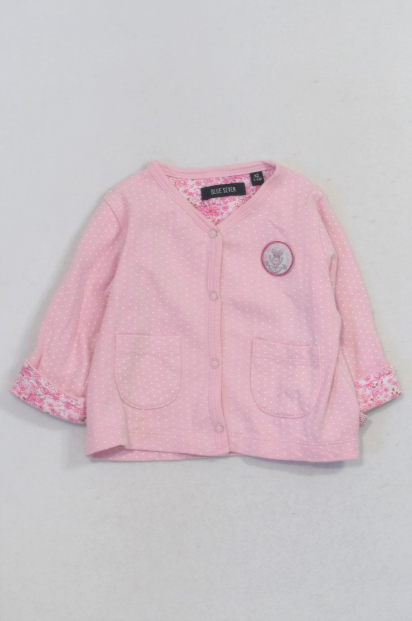 Blue Seven Pink Dotty Ballerina Snap Cardigan Girls 3-6 months