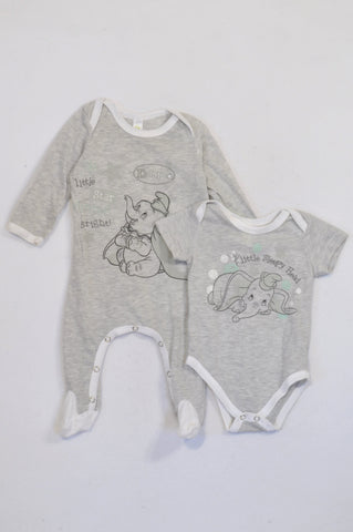 Disney 2 Pack Grey Dumbo Baby Grow & Onesie Unisex 3-6 months