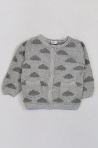 H&M Grey Cloud Cardigan Girls 4-6 months