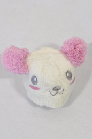 Woolworths White & Pink Knit Bear Beanie Girls 0-3 months