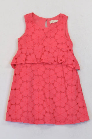 Zara Cerise Pink Eyelet Overlay Dress Girls 8-9 years