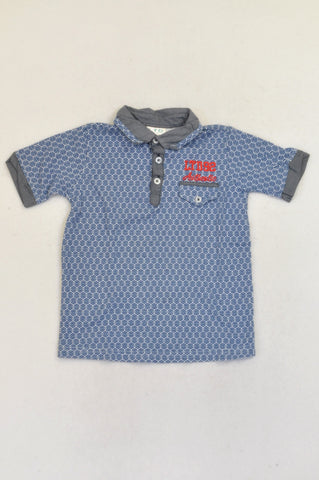Truworths Blue Spiral Circle Print Golf Shirt Boys 5-6 years