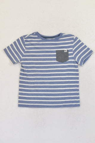 Woolworths Blue Striped Grey Pocket T-shirt Boys 5-6 years