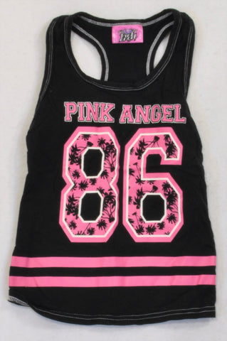 Pink Angel Black & Pink Palm Tree Tank Top Girls 8-9 years