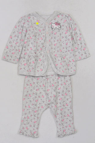 3d549e871 Woolworths Light Grey Rose Print Hello Kitty Cardigan & Leggings Outfit  Girls 3-6 months