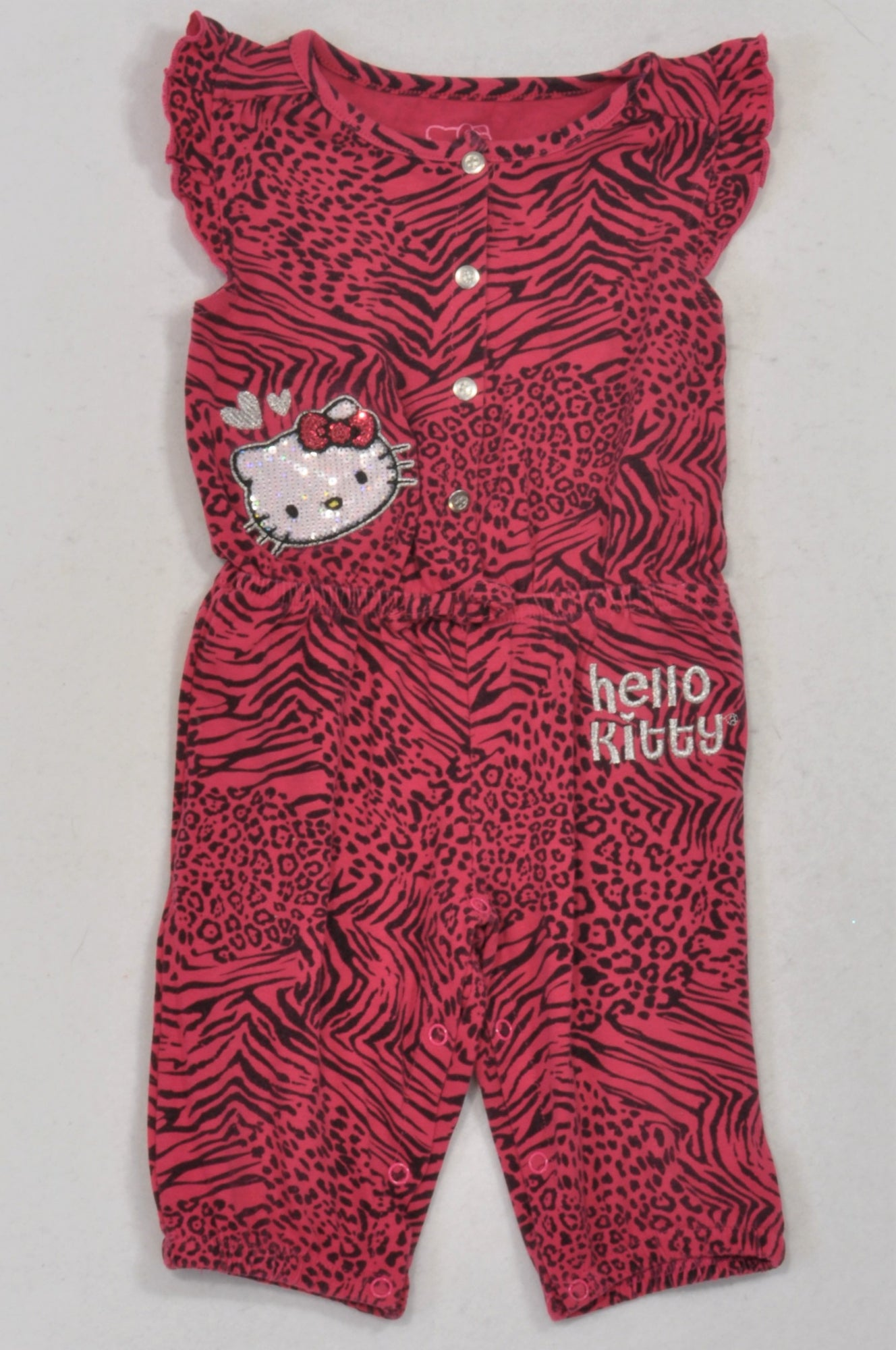 22d4d1bb9 Hello Kitty Magenta Animal Print Snap Romper Girls 12-18 months – Once More