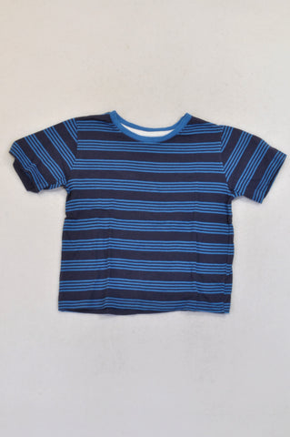 Rebel Navy & Blue Stripe T-shirt Boys 5-6 years