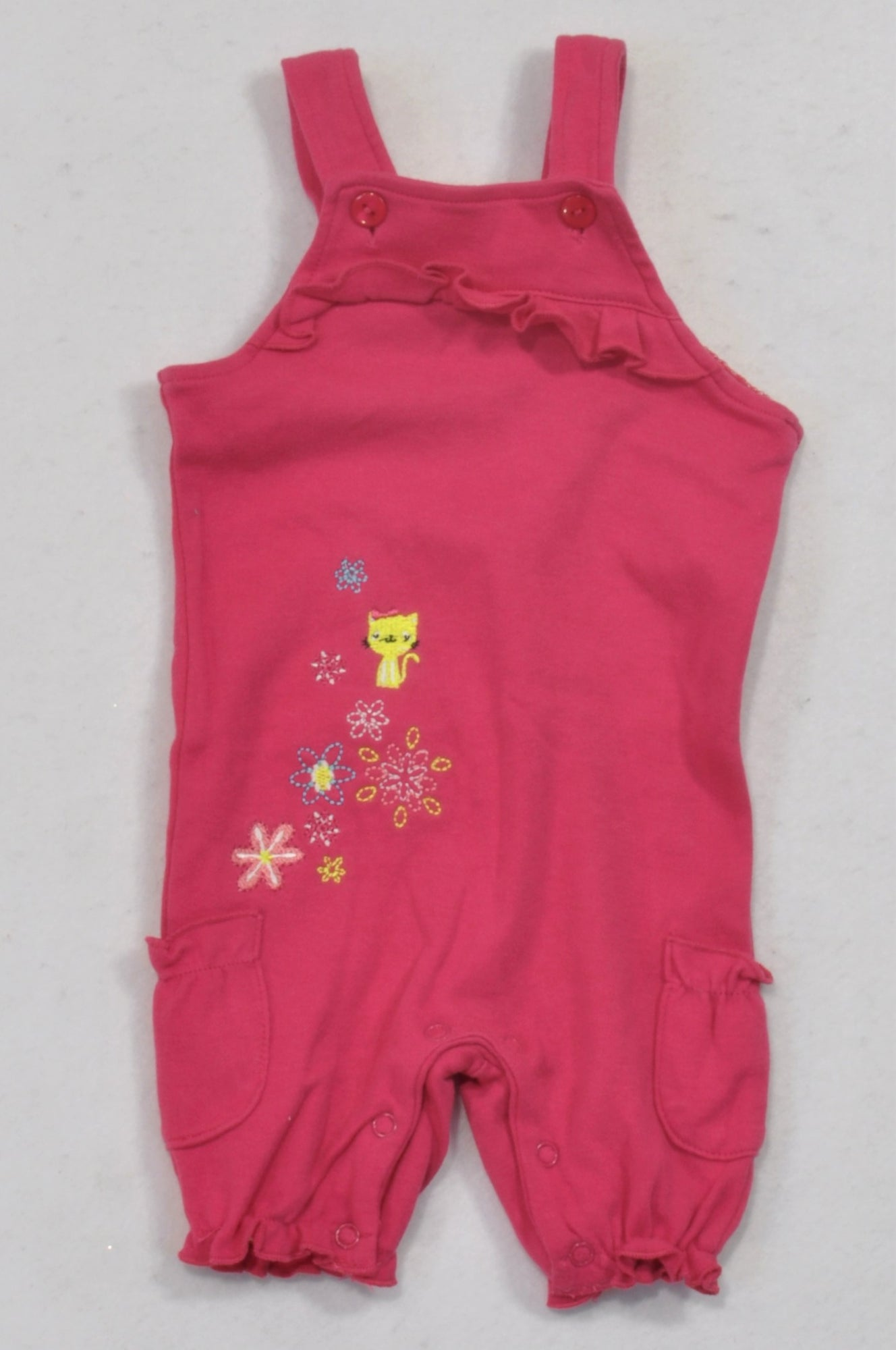 Edgars Cerise Embroidered Cat Snap Dungarees Girls 0-3 months