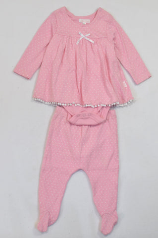 Phoebe & Floyd Pink Dotty Overlay Onesie & Leggings Outfit Girls 3-6 months