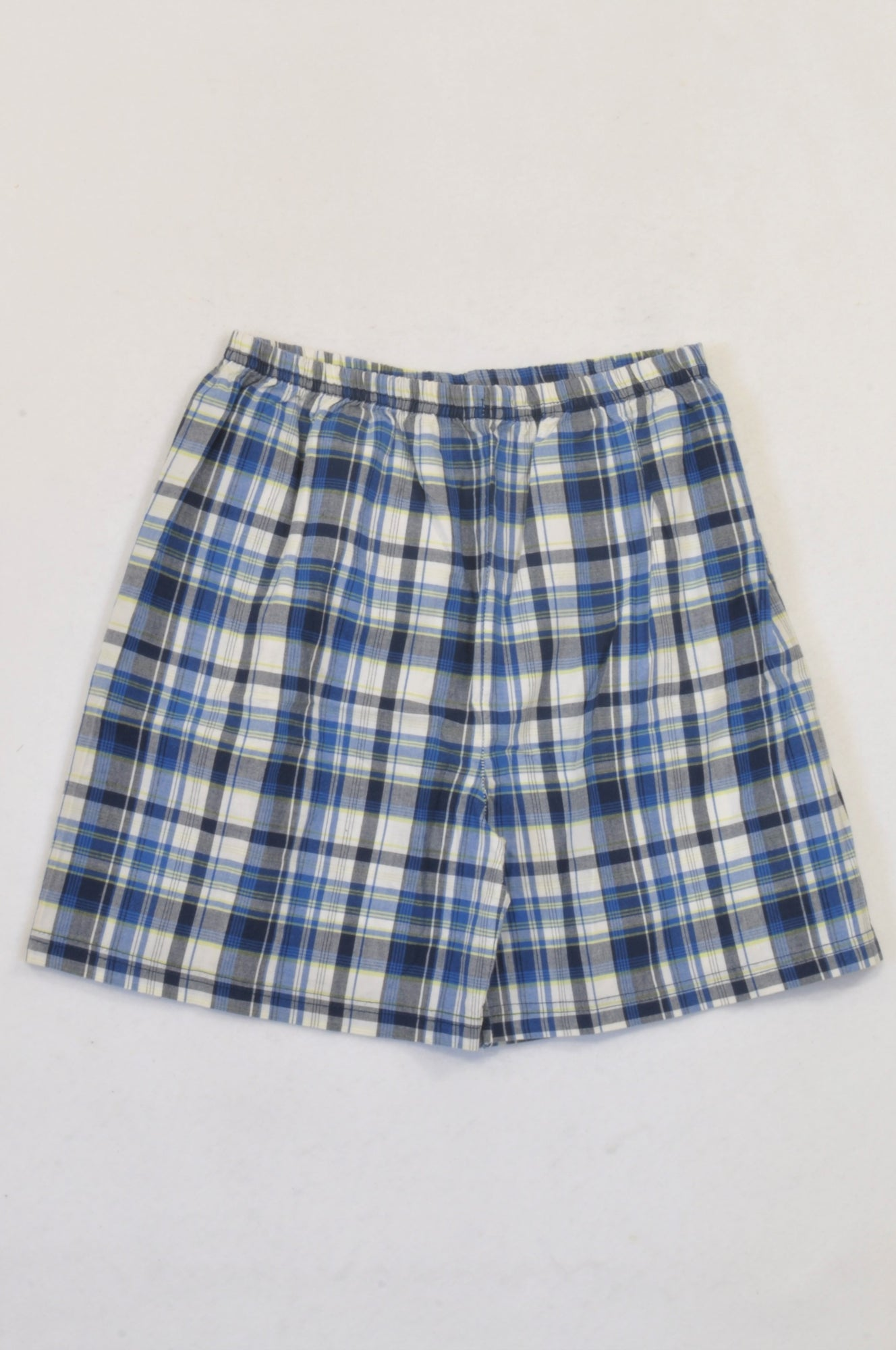 Woolworths Blue & Lime Plaid Shorts Boys 9-10 years