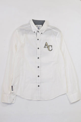 Woolworths White AC Patch Collared Shirt Boys 12-13 years