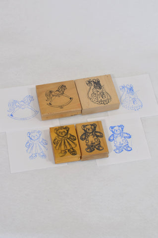 4 Pack Teddy Bear Picnic Stamps Toy Unisex 1-8 years