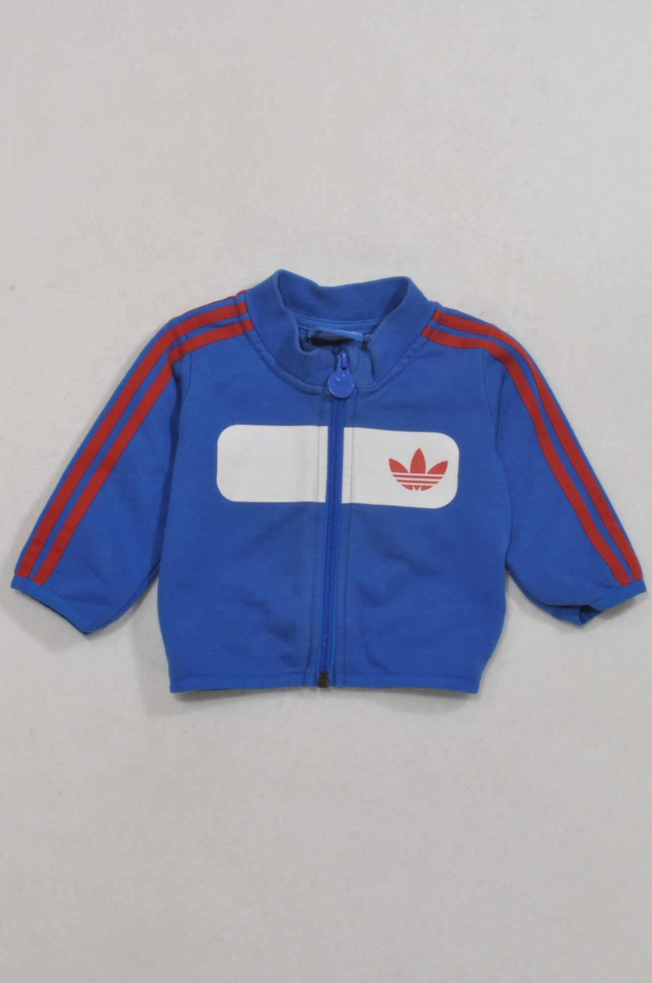 Adidas Blue Red Stripe Zip Up Jacket Boys 0-3 months