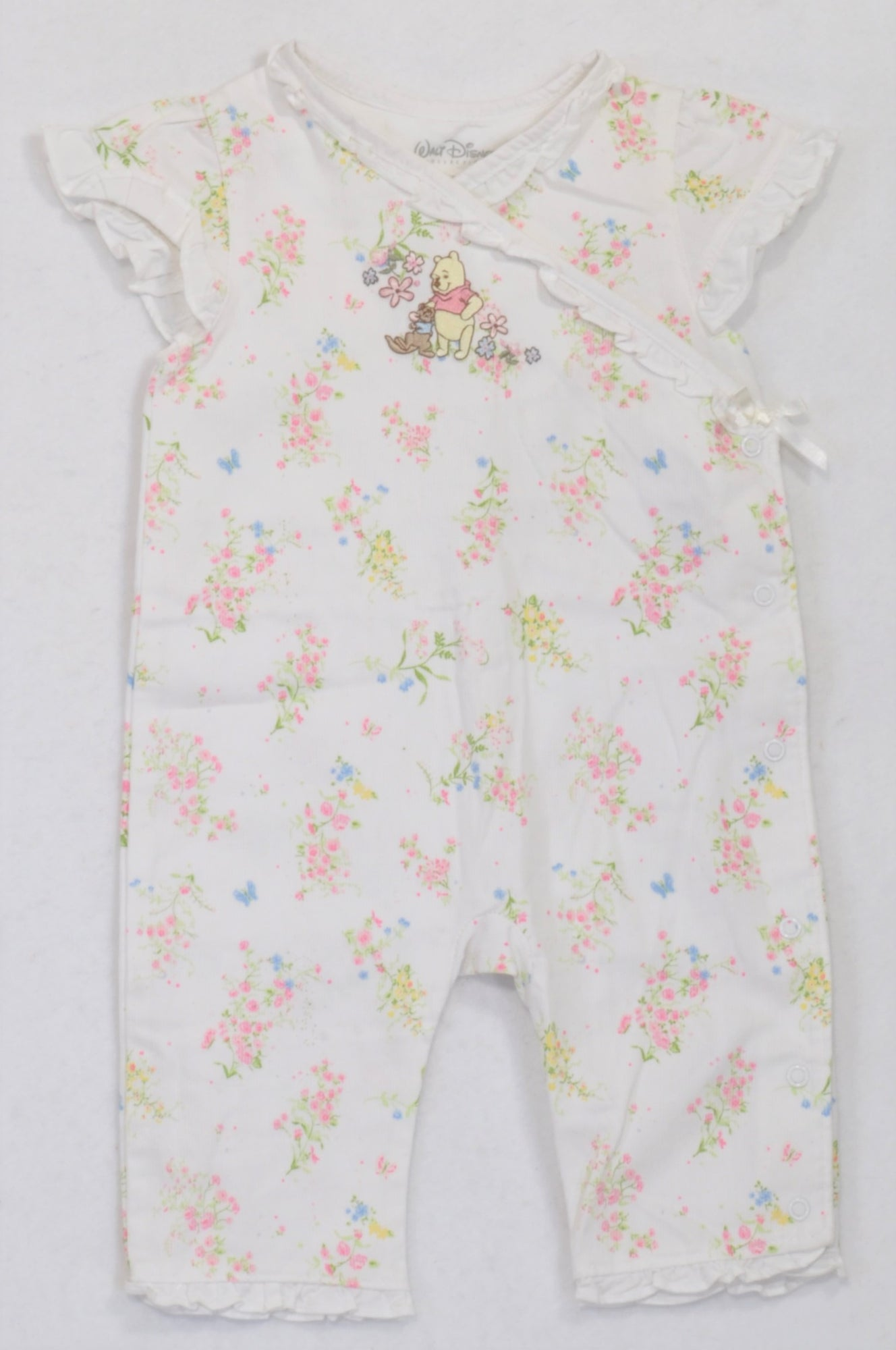 674f358eb6d0 Disney Floral Winnie the Pooh Embroidered Ribbed Romper Girls 6-9 mont –  Once More