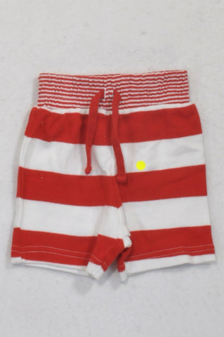 Mothercare Red & White Stripe Shorts Unisex N-B