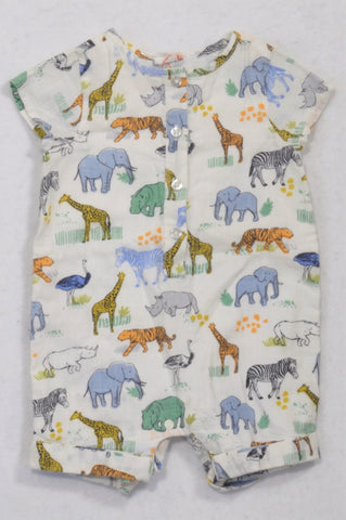 John Lewis White Safari Animal Romper Boys 0-3 months