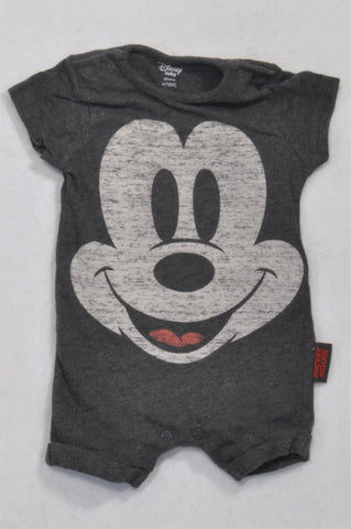 Next Grey Heathered Mickey Mouse Romper Boys 0-3 months