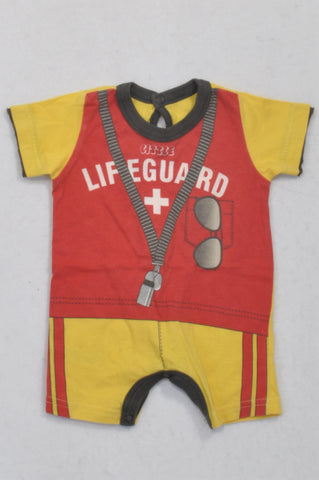Woolworths Red & Yellow Lifeguard Romper Boys N-B