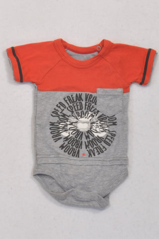 Woolworths Red & Grey Speed Freak Baby Grow Boys 0-3 months