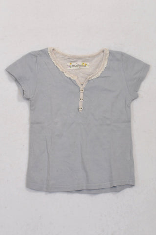 Maxi Maxi Soft Blue Frill Trim T-shirt Girls 6-9 months