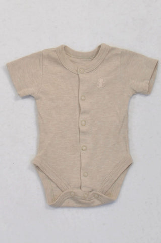 Woolworths Beige Heathered Baby Grow Girls N-B