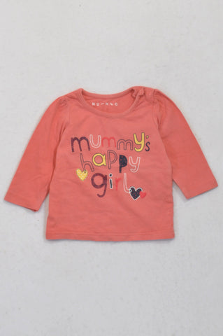Nutmeg Coral Mummy's Happy Girl T-shirt Girls 0-3 months